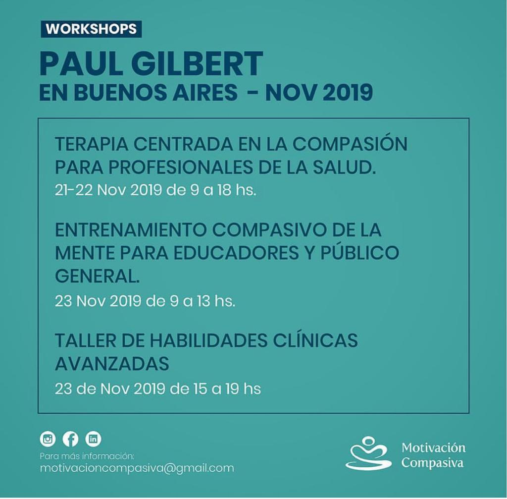 PROFESOR PAUL GILBERT EN ARGENTINA, Terapia centrada en la compasión